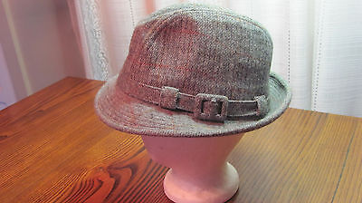 """Vintage Gray Wool Stetson Fedora Hat 7 3/8"""" Excellent Clean Condition"""