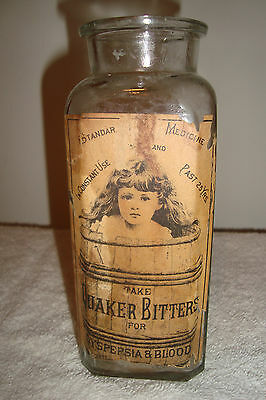 Vintage T.C.W. Co. Quaker Bitters Glass Labeled Bottle - Nice!