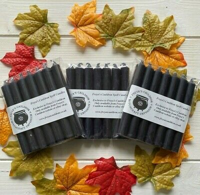 18 Witches Black Spell Candles ~ 10cm 9 Solid Colour ~ Ritual ~ Altar ~ Wicca