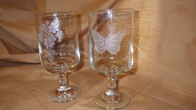 Vintage Libbey Crystal Glasses Tumblers Etched Butterfly Floral Motif Footed