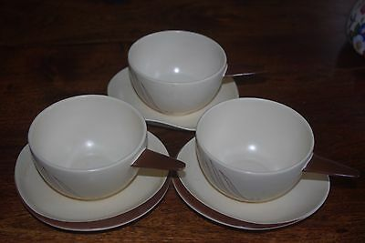 CARLTON WARE 'Windswept' Pattern Soup Bowls and Stands x 3