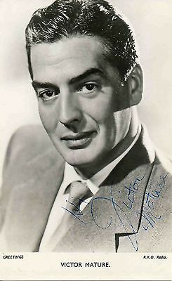 Victor Mature Hand Signed Photo 6X4 American Hollywood Film Actor