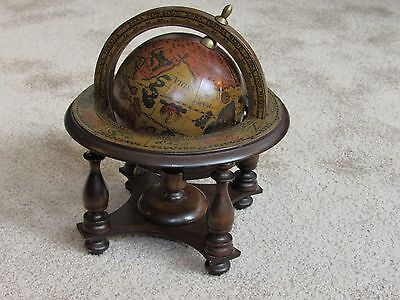 Vintage Spinning Zodiak Old World Desk Globe Made In Italy