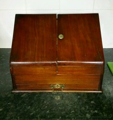 Antique Mahogany Brass Stationary Cabinet Writing Box Letter Rack Desk Tidy