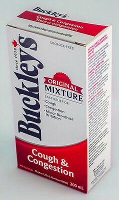 BUCKLEY'S COUGH & CONGESTION SYRUP 200mL (6.8oz) FACTORY FRESH BOTTLE CANADIAN