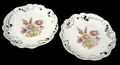 Pair of Antique Ornate Pierced Display Plates with Floral Pattern