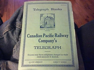 Canadian Pacific Railway Company's Telegraph blanks booklet 1916 train railroad