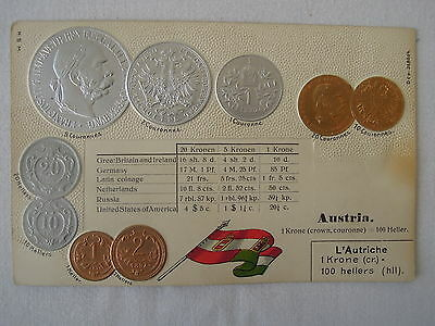 Embossed Coin Postcard Austria made in Germany