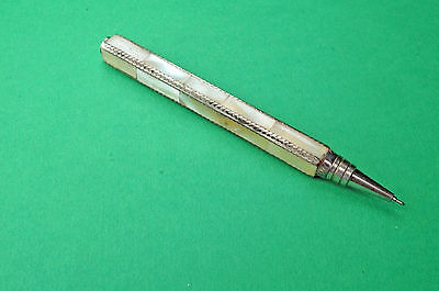 Mother of Pearl covered White Metal Ball Point Pen