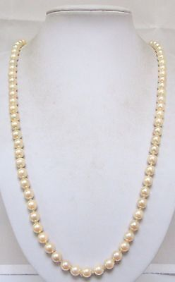 Good vintage Deco long hand knotted pearl necklace (large diamond paste clasp)