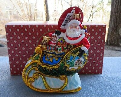 Christopher Radko Christmas Ornament Village Sleigh Ride With Gifts #1018392 NIB