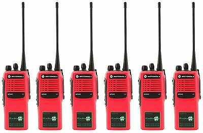 MOTOROLA GP340 UHF 4 WATT TWO WAY WALKIE-TALKIE RADIOS x 6 HI-VIZ RED