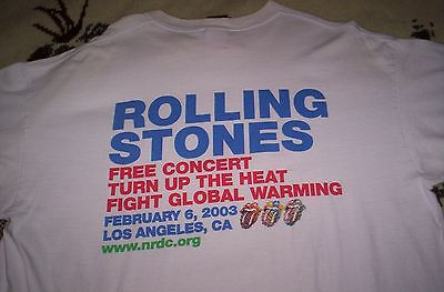 rare ROLLING STONES - February 6, 2003 XL shirt - LOS ANGELES - FREE CONCERT VG+