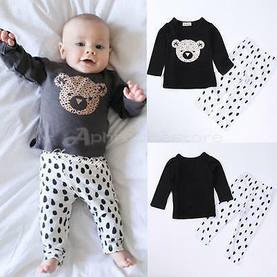 Baby Girls Boys Kids Autumn Cotton Long Sleeve Top + Pants Trousers Outfits 0-6M