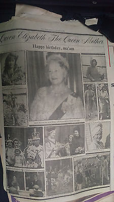 old newspaper 1980 Queen Mother's 80th birthday
