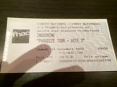 Ticket Concert Indochine - Paradize Tour - Acte 2 - Forest National - 14/12/2002