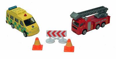 FIRE ENGINE & AMBULANCE RESCUE TEAM PLAYSET - 1:43 Scale Model Toy Set Ages 3+