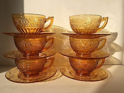 """Indiana Glass Daisy Amber No. 620 6"""" saucer and 2 1/4"""" cup, 12 pieces (6 sets)"""