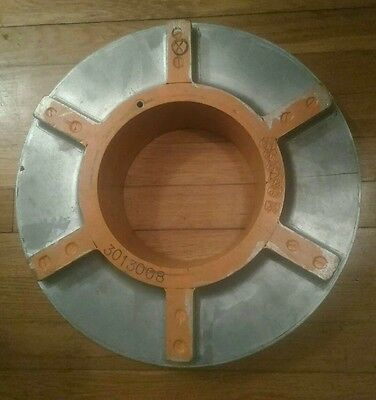 Antique Gray Machine Age Industrial Round Wood Foundry Mold Pattern Steampunk
