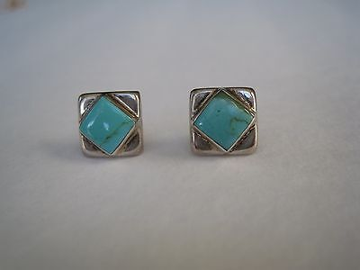Turquoise and 925 Silver Square Earrings