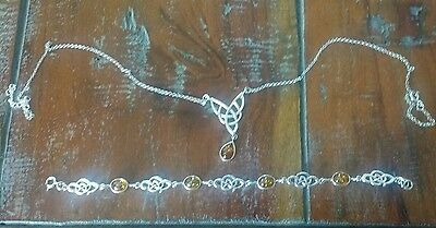sterling  silver and amber celtic bracelet ring earrrings and necklace new