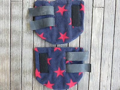 Thick  Padded Fleece Leg Wrap Stable Boot Navy With Red Stars