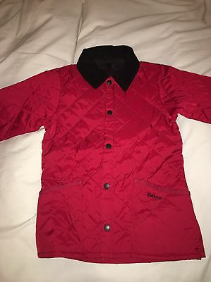 Kids Barbour Unisex Jacket Padded Quilted Boys Girls Red Size 6/7