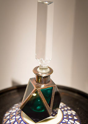 Emerald Green with  Silver Overlay - Faceted Perfume Bottle with Stopper