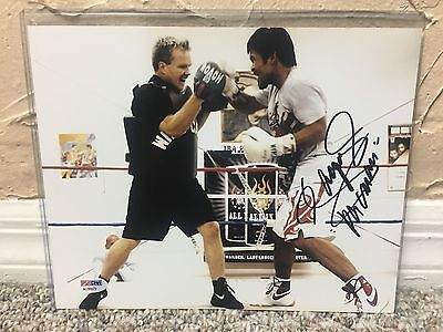 MANNY PACQUIAO SIGNED AUTO 8 X 10 BOXING PHOTO Training Freddie Roach PSA 150