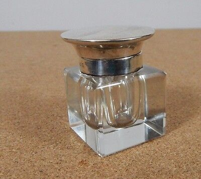 Silver Topped Glass Inkwell Birmingham 1925 4cm square 5cm tall