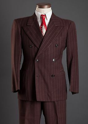 Vintage Dated 1947 Double Breasted Suit Peak Lapels 1940s