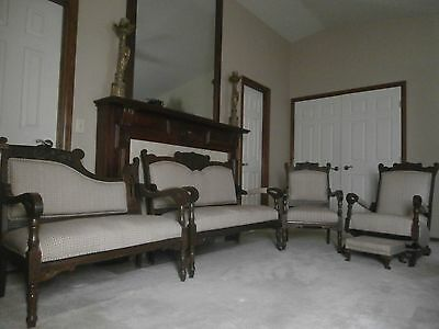 Antique Eastlake Style Victorian 5 pc Parlor Beautifully Carved Furniture Set