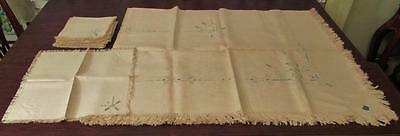 Antique Tablecloth & 12 Napkins 70X88 Embroidered Italian Pilgrim Arts & Crafts