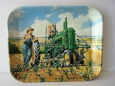"""Vintage Collectible """"john Deere"""" Tray....lunch Time"""