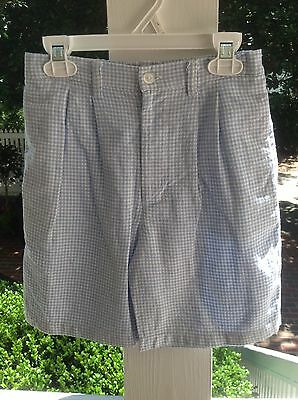 EUC M 7 8 Kelly's Kids Blue Gingham Dress Shorts Beach Portrait Wedding Easter