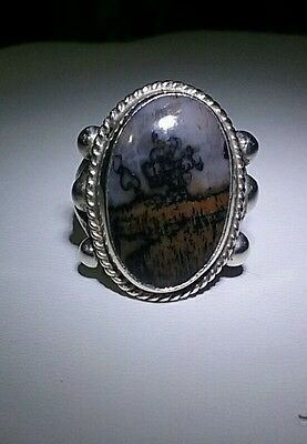 Womens Vintage Sterling Silver Moss Agate Picture Ring Size 7