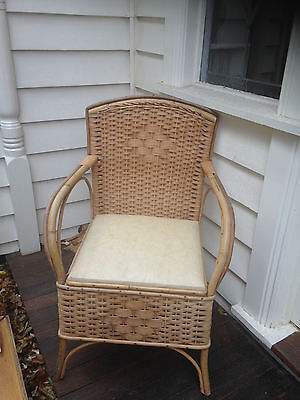 Antique vintage retro wicker cane commode chair