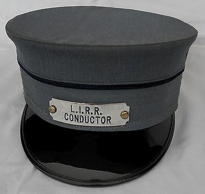 Vintage L.I.R.R. Long Island Railroad TRAIN CONDUCTOR Hat Cap with Badge