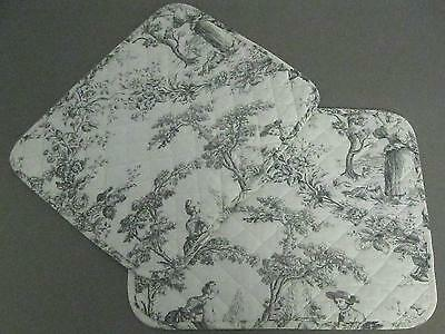 Le Cluny Placemats 2 Toile Gray & White Quilted,  France