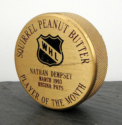 Regina Pats Nathan Dempsey March 1993 WHL Player of the Month Award Brass Puck