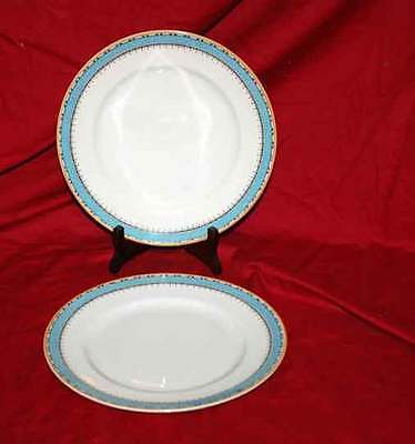 """(2) Myott and Sons China 10"""" Dinner Plates  1418 Blue"""