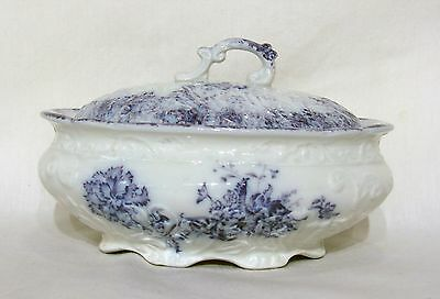 W H Grindley England Flow Blue Purple May Pattern Floral Covered Dish