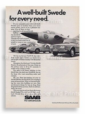 1970 Saab Swede for Every Need Car and Jet Vintage Original Print Ad Free Ship