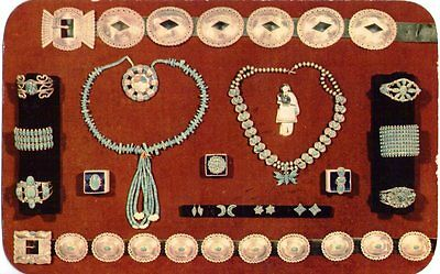 Vintage postcard~ Indian Jewelry, silver & turquoise by Zuni & Navajo artists