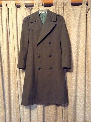 Vintage WWii US Marines Military Wool Coat Serge Green Size 34S ~Name Inside