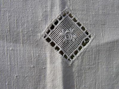 Vintage Antique Victorian CRISP Linen Floral Lace Inset Tablecloth FLAWS shown