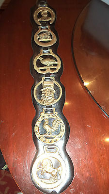 Vintage English Brass 6 Horse Medallions on Leather Strap