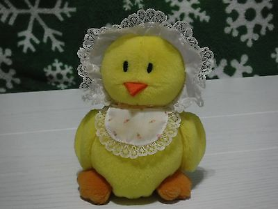 "Applause Yellow Baby Chick In Bonnet & Bib 5"" Mini Plush Little Dumplins Vintage"