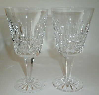 """Beautiful Pair Waterford Crystal Lismore 6 7/8"""" Tall Stem Water Goblets Glasses"""