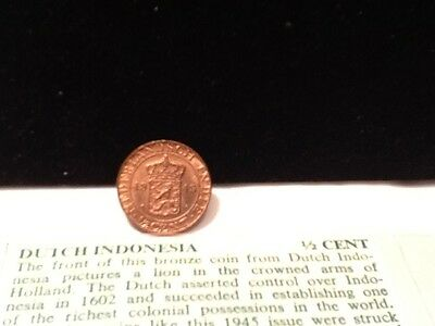 1945 Netherlands Inde 1/2 Cent * HALF CENT HIGH GRADE COLLECTABLE COIN *